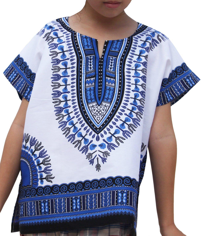 Raan Pah Muang RaanPahMuang Unisex Bright African White Children Dashiki Cotton Shirt, 3-6 Years Tall, Blue On White
