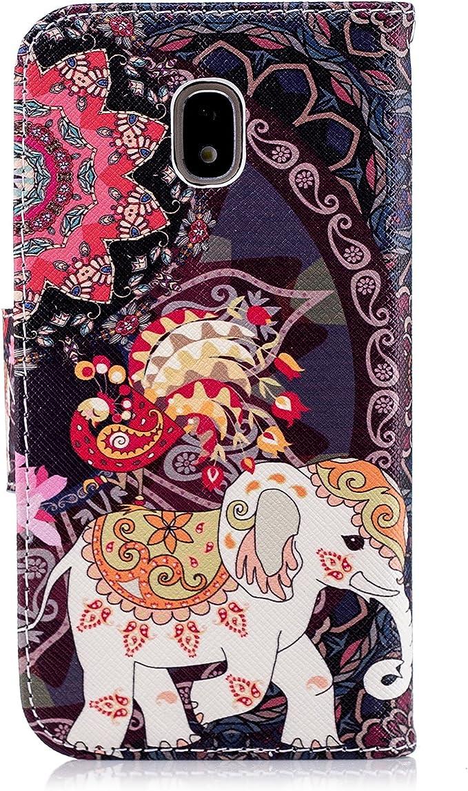 J3 Pro Coque, Cotdinforca Forêt tropicale Flamant rose rétro éléphant Painted Design Premium PU Cuir Portefeuille Coque FOLIO Flip Housse de ...