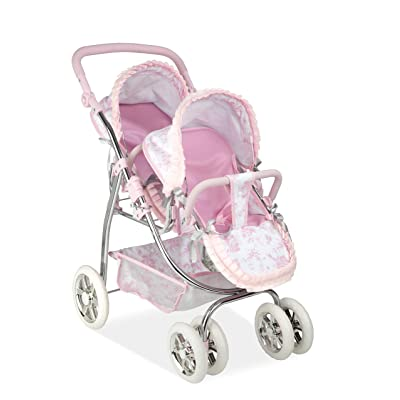 Ann Lauren Dolls by Arias Elegant Pink Print Twin Baby Doll Stroller: Toys & Games