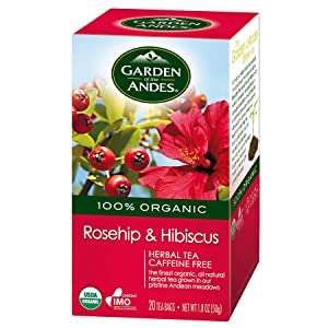 Garden of the Andes 100% Organic Herbal Tea, Rosehip and Hibiscus, 20-Count