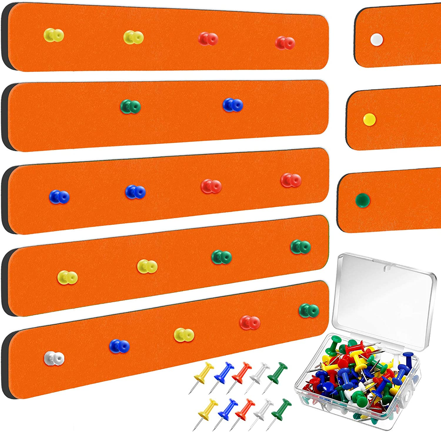 8 Pieces Felt Bulletin Board Bar Strip Self-Adhesive Pin Board Bar Frameless Wall Memo Strip with 40 Pieces Pushpins for Office Classroom Home (Orange)