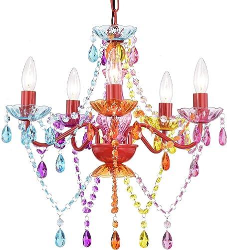 Modern Chandelier Crystal Chandelier Lighting Colorful Chandelier Red Metal Frame