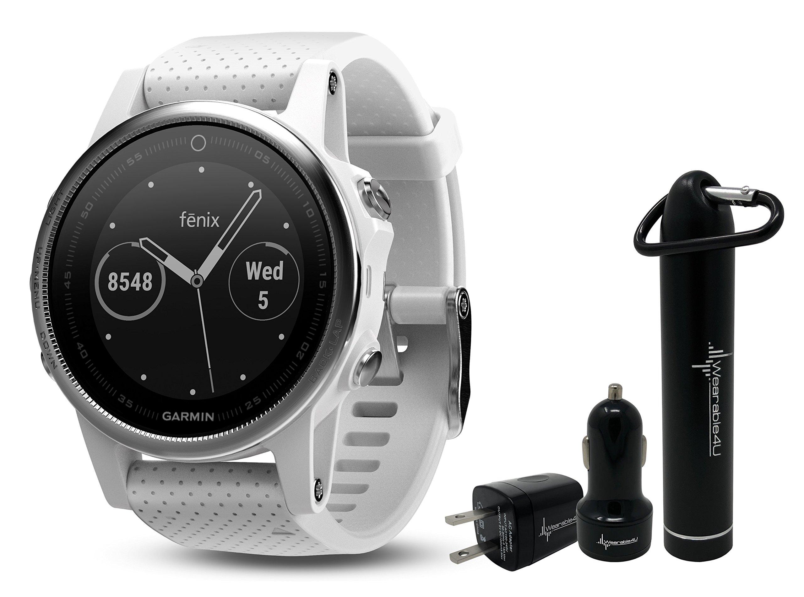 Garmin Fenix 5S Premium GPS Multisport Watch Ultimate Power Bundle | Includes Garmin Fenix 5S Watch (42mm), Wearable4U Power Bank, and Wearable4U Car and Wall USB Charging Adapters |
