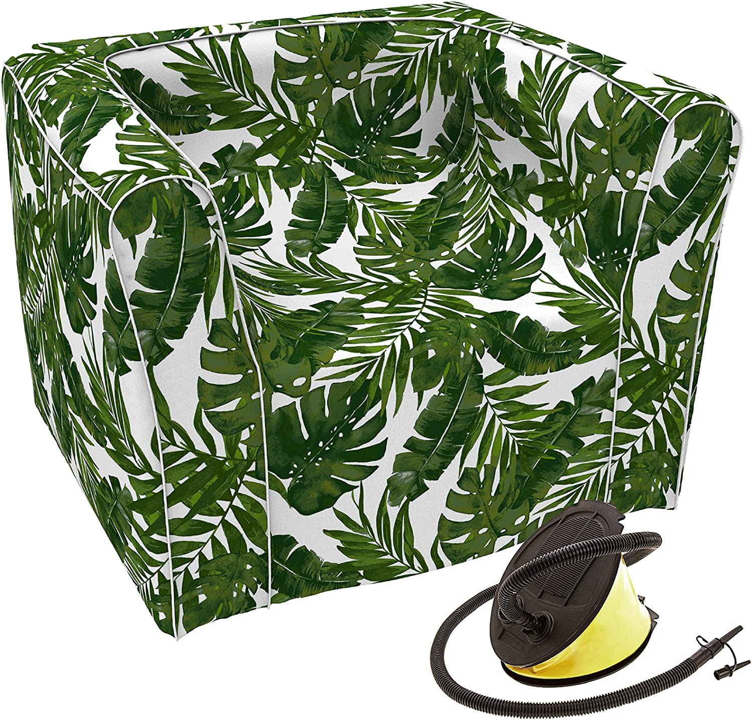 LVTXIII Outdoor Inflatable Sofa Chair Air Sofa Seat with Travel Pouch, Patio Lounge Chair Sofa for Adults and Kids, Great for Home Garden Beach (Foot Pump Included) - Palm Green