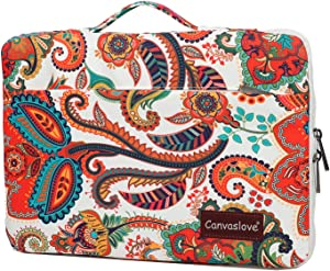 Canvaslove Waterproof Corner and Bottom Rebound Bubble Cushioned Laptop Sleeve Case Bag with Handle and Pockets (Paisley, 14 inch)