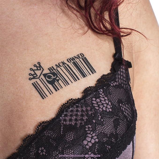 Negro propiedad Barcode Tatuajes Temporales fetiche BBC hotwife Reina de Picas: Amazon.es: Belleza
