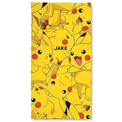 Personalizado Nombre Pokemon Pikachu Super suave toalla de playa de secado rápido