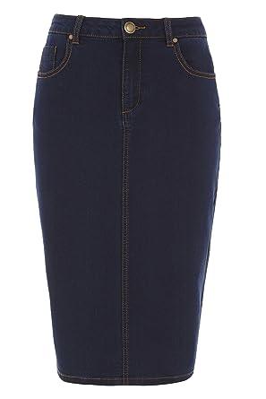 8220fc982e Roman Originals Women's Skirt Denim Jeans Knee Length Pencil - Ladies Midi  Skirts - Indigo Blue