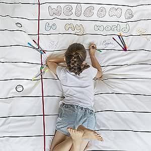 eatsleepdoodle Notebook Print Pure Cotton Doodle Duvet Cover, Design, Personalize & Color Your Own Duvet, Coloring Duvet with Washable Felt Tip Fabric Markers (Twin)