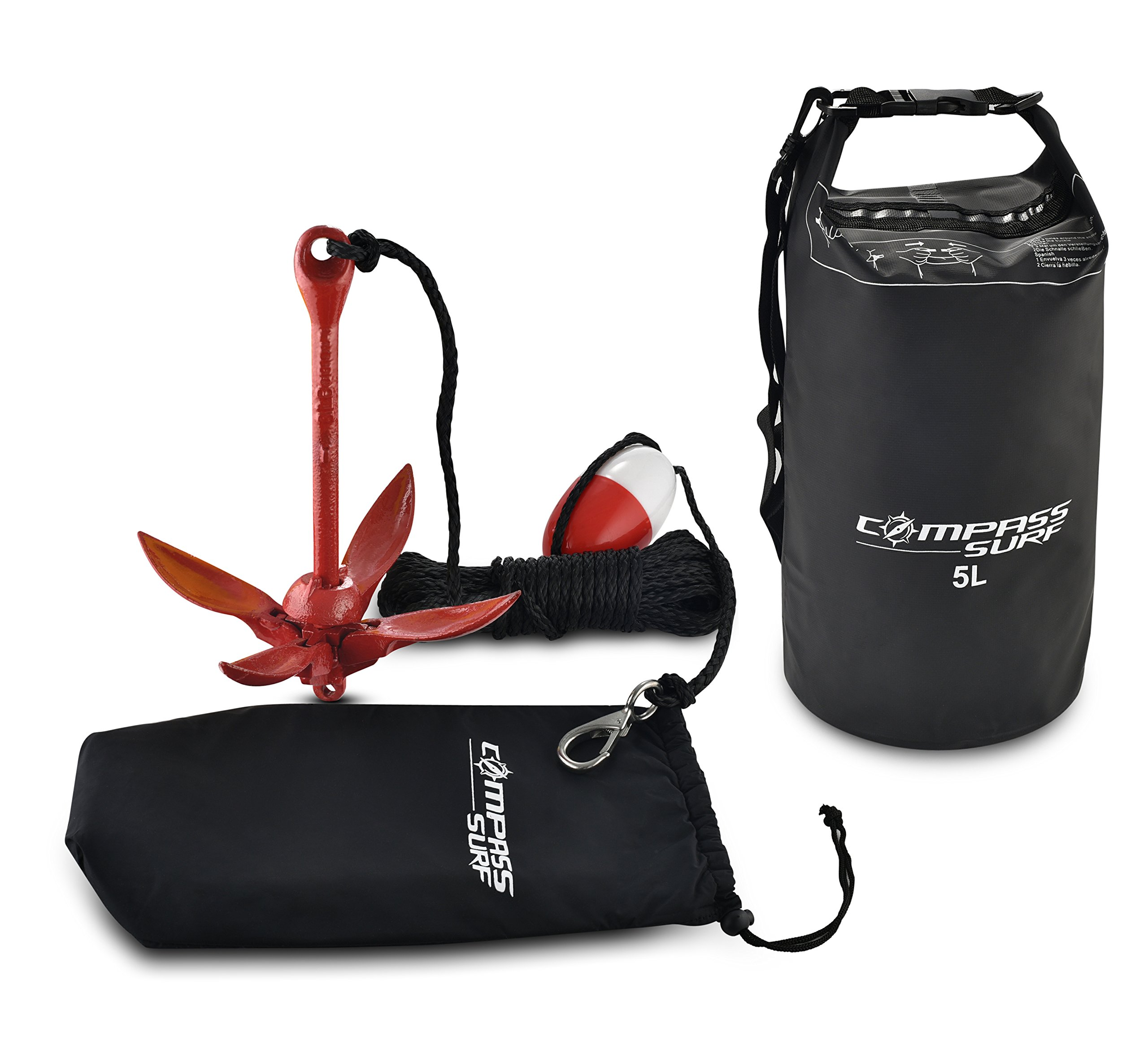 Compass Kayak Anchor Kit + Dry Bag for Jet Skis, Canoes, Floats - 3.5 lb Steel Anchor with Anti-Rust Powder Red Coating, 40 ft Marine Grade Rope, Buoy, and Stainless Steel Snap Hook.