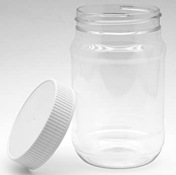 Plastic Jars With Screw On Lids   16 Oz   Pack Of 6   Non