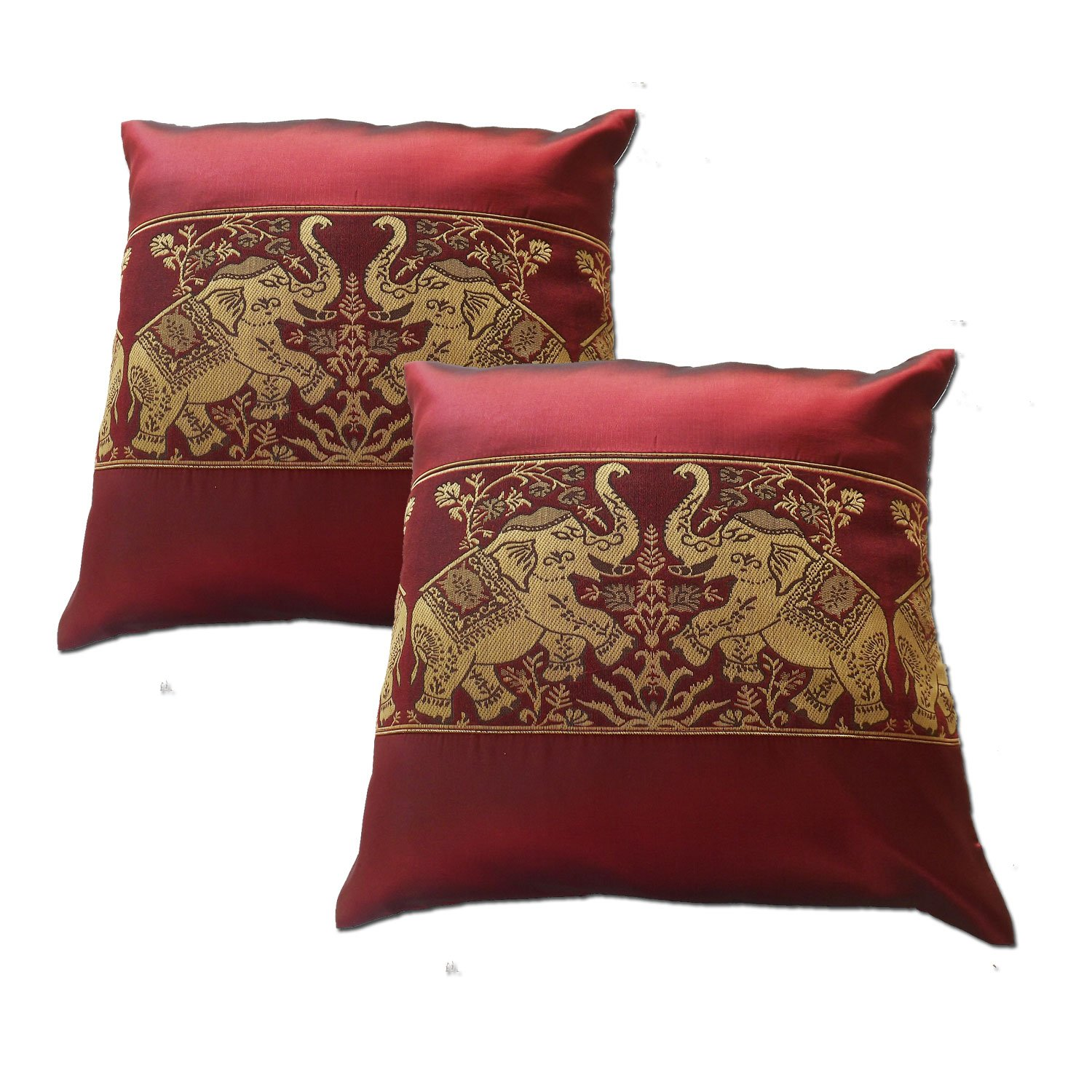 A pair of Beautiful Thai Silk Pillow Covers for decorate Living Room, Bed Room, Sofa, Car / Size 16 X 16 Inches Code 4005