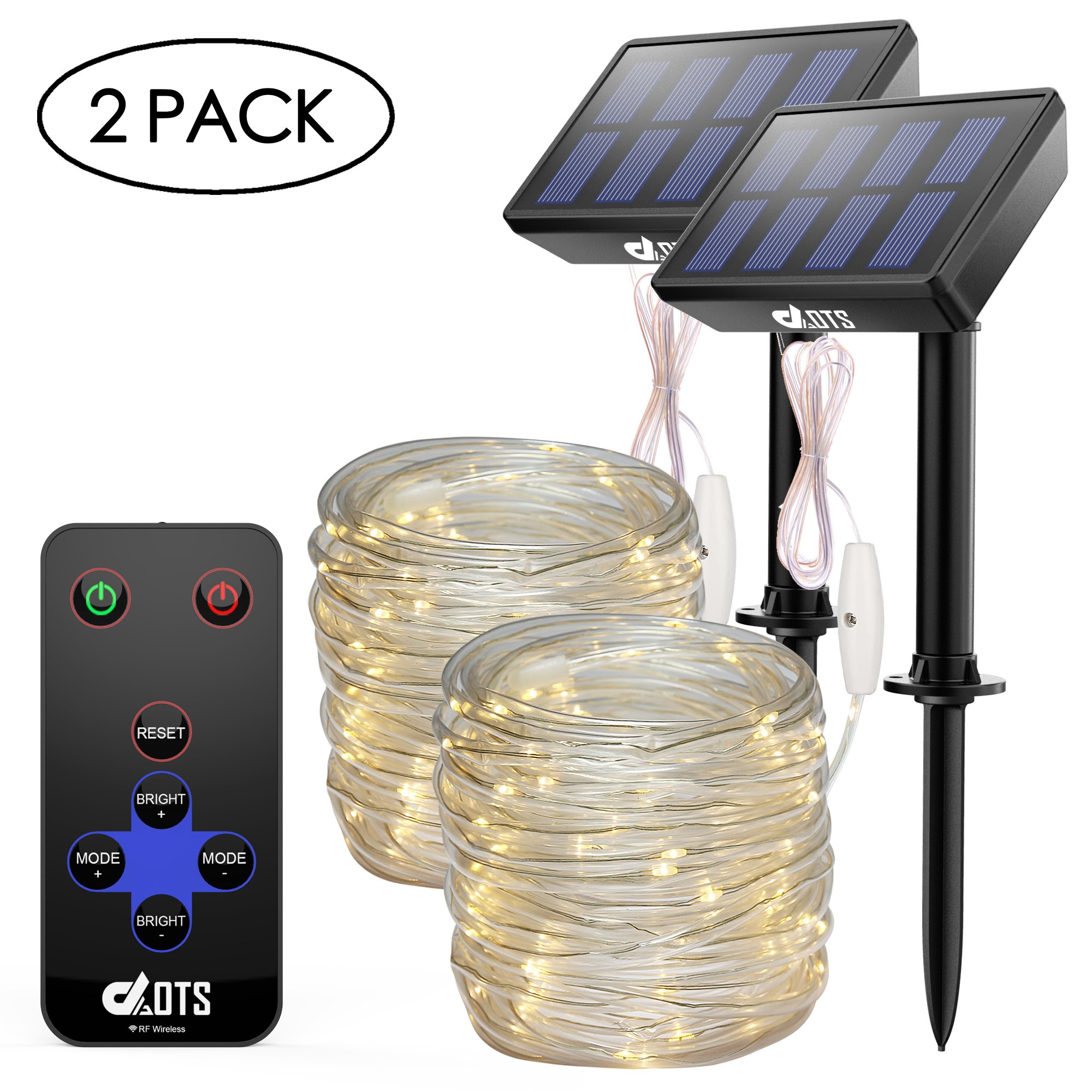 DAOTS Solar Powered String Lights Outdoor with Remote, 33ft 100 LED Rope Lights for Christmas Tree, Party, Garden, Patio Deco Waterproof Copper Wire Fairy Lights with Clips (Warm White, 2Pack)