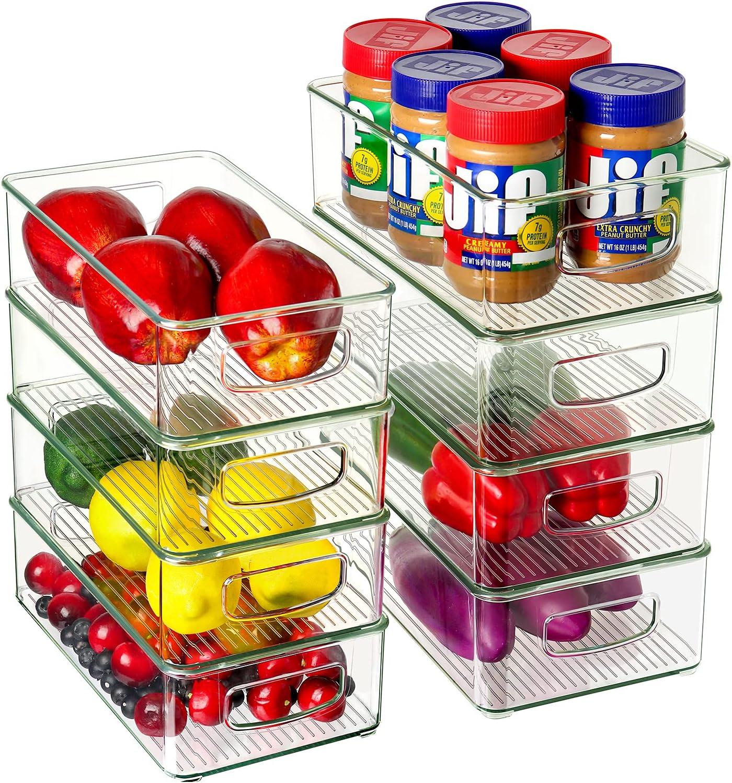 Set of 8 Refrigerator Organizer Bins (4 Large & 4 Medium Plastic Storage Bins), Stackable Clear Plastic Storage Bins for Pantry, Cabinets, Shelves, Drawer, Freezer - Food Safe, BPA Free