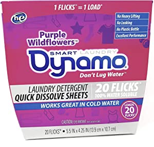 Laundry Detergent Sheets by Dynamo | Works in All Standard & He Washing Machines | Concentrated Laundry Soap | Hot & Cold Water | Purple Wildflower Scent | 20 Sheets