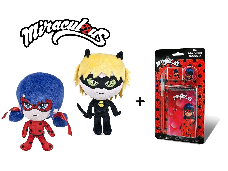 Miraculous 4pcs Pack 2 peluche et chat Noir 27cm // 10 Qualit/é soft Set de papeterie les aventures de Ladybug et Chat Noir