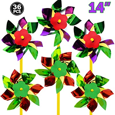 Bedwina Rainbow Whirl Pinwheel - (Pack of 36) Assorted Colorful Pinwheels and Wind Spinners for Party Favors and Outdoor Lawn Flower Yard Decoration and Garden Windmills : Garden & Outdoor