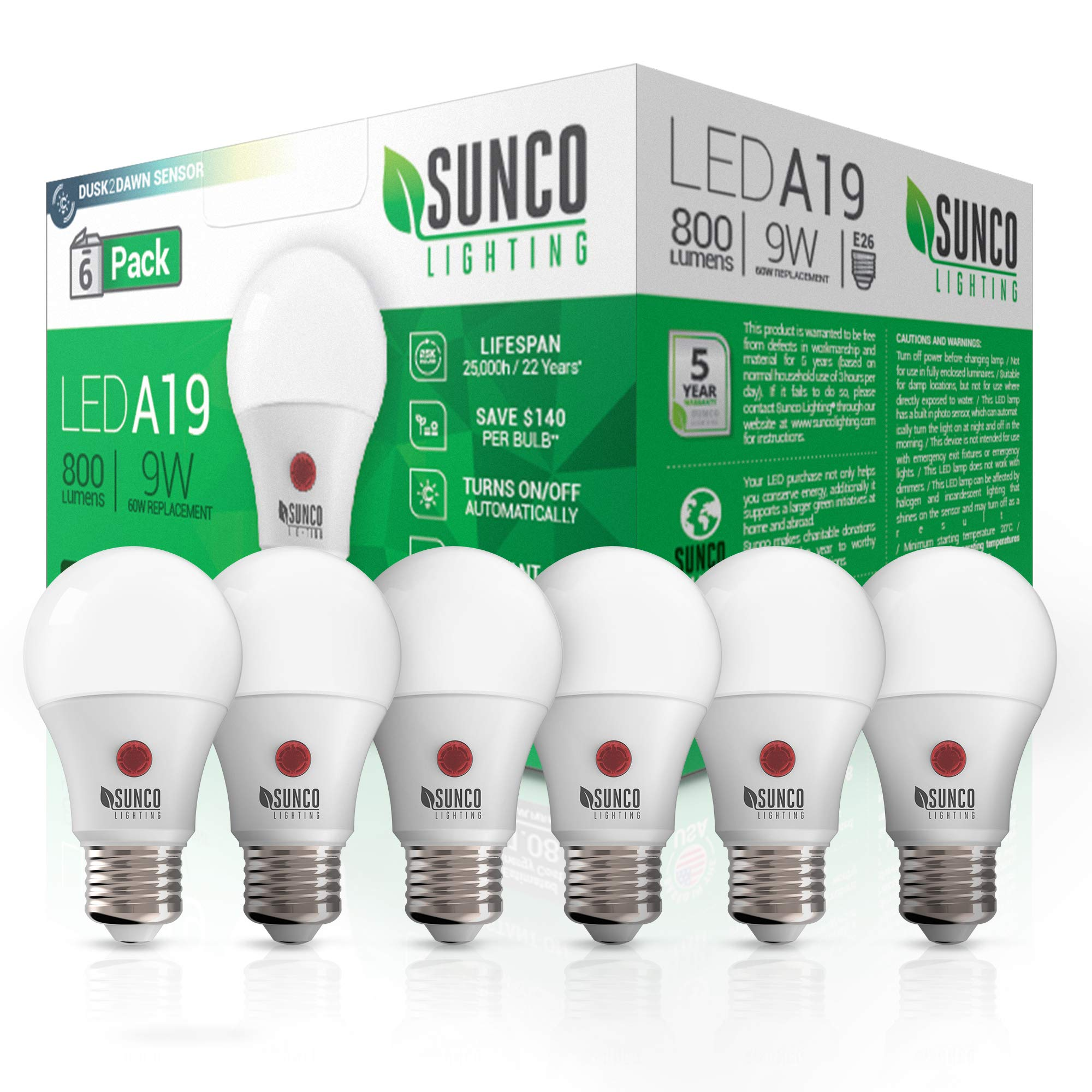 Sunco Lighting 6 Pack A19 LED Bulb with Dusk-to-Dawn, 9W=60W, 800 LM, 3000K Warm White, Auto On/Off Photocell Sensor - UL