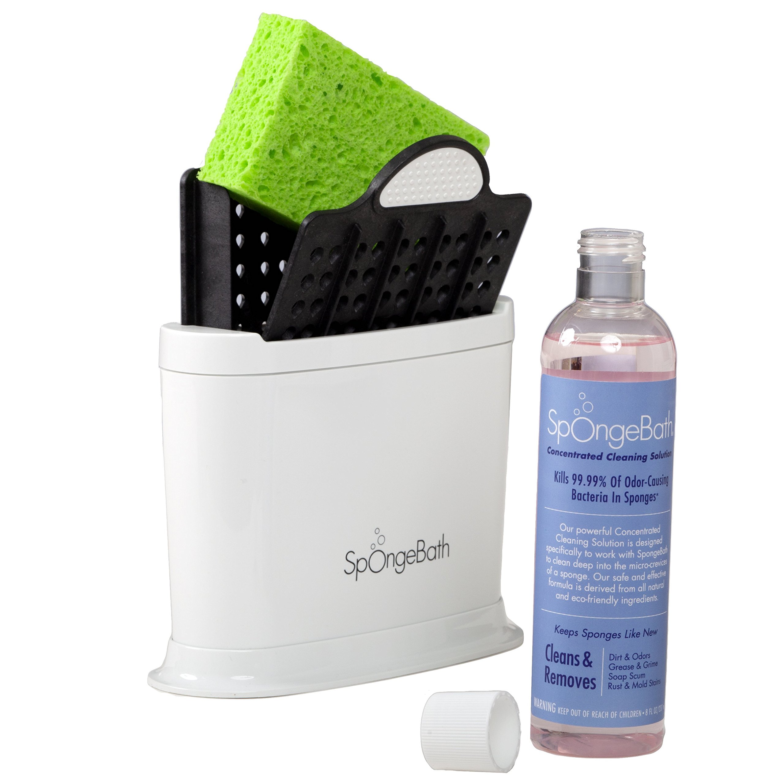 Kitchen Sponge Holder Cleans, Stores and Kills 99.99% of Odor-Causing Bacteria (White) – Organizer Caddy (SpongeBath)