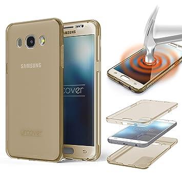 Urcover® Funda Compatible con Samsung Galaxy J7 (2016) Carcasa Protectora 360 Grados Silicona Gel en Transparente Full Body Protección Completa ...