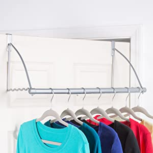 "Over The Door Closet Valet- Over The Door Clothes Organizer Rack and Door Hanger for Clothing or Towel, Home and Dorm Room Storage and Organization - Fits Doors up Till 1¾"" Thick"