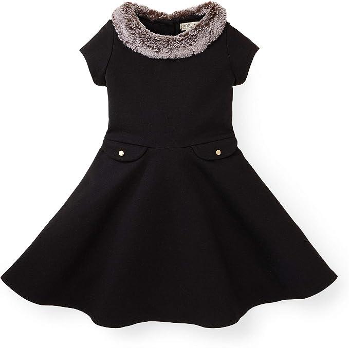 60s 70s Kids Costumes & Clothing Girls & Boys Hope & Henry Girls Short Sleeve Ponte Skater Dress with Faux Fur Collar $27.95 AT vintagedancer.com