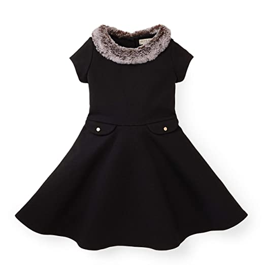 Hope & Henry Girls' Black Ponte Dress with Faux Fur Collar