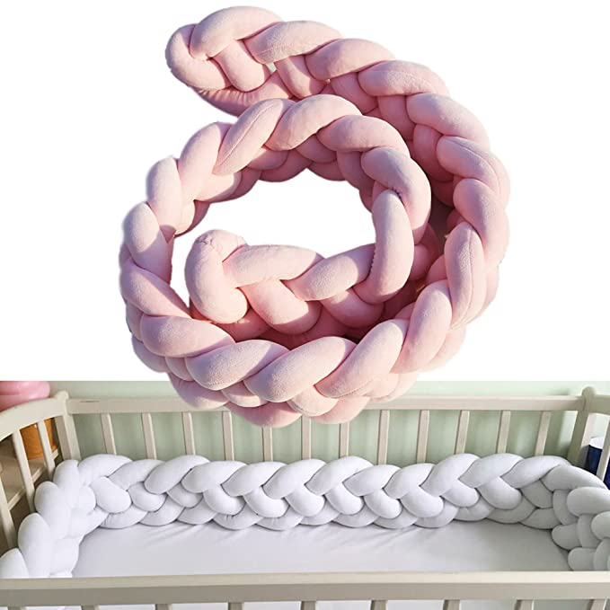 Baby Crib Bumpers Braids Protective Snake Pillow Home Decoration 39 59 79 200cm, Grey