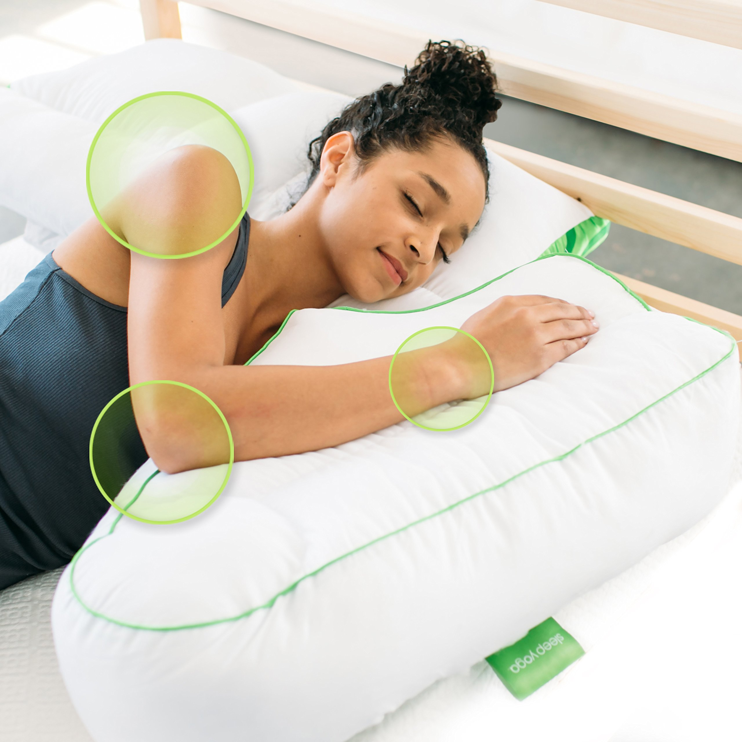Sleep Yoga Good Beneficial Helps Strengthen Our Core Muscles and Keeps Our Body Flexible, Which, in Turn, Improves Our Posture n Side Sleeper Arm Rest Pillow with White Zipper Cover