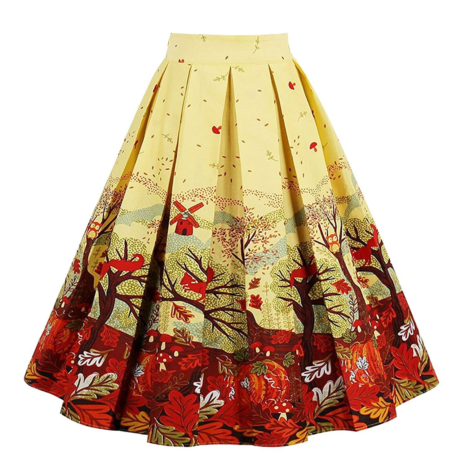 Dresstore Women's Vintage Pleated Skirt Floral A-line Printed Midi Skirts with Pockets Autumn-M
