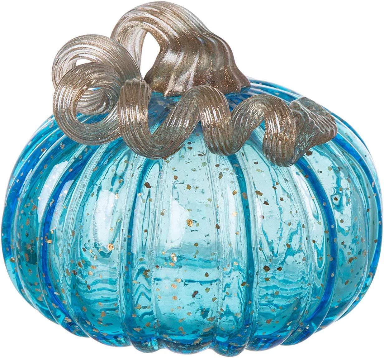 "Glitzhome 5.12"" Blue Handblown Glass Pumpkin Table Accent for Fall & Harvest Thanksgiving Decoration"