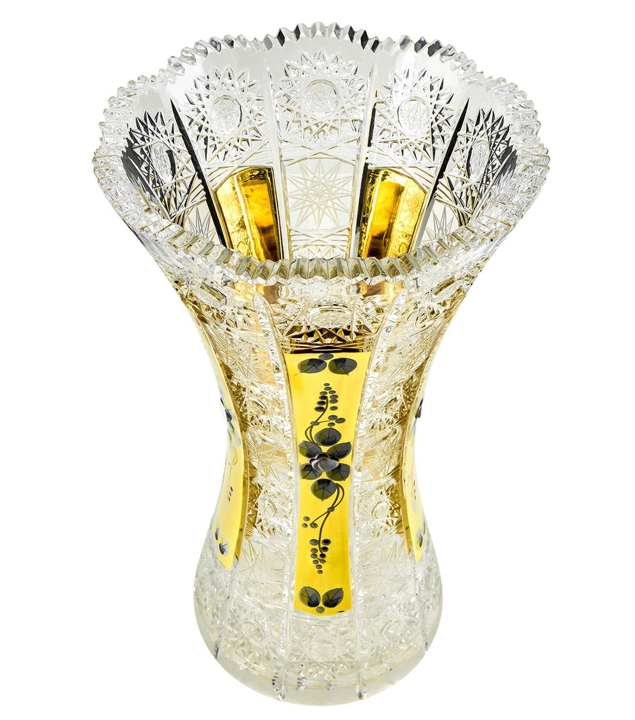 Bohemia Crystal 50522, 12''H Crystal Cut Decorative Clear Flower Vase with Golden Sputtering, Elegant Centerpiece Wedding Gift Gold-Plated Bud Vase