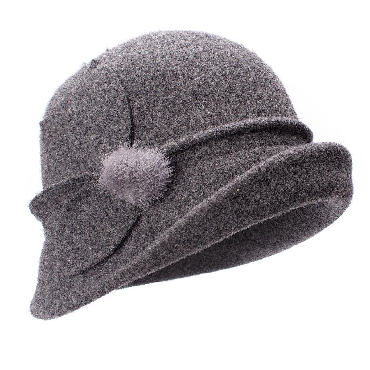 Lawliet Womens Retro Upturn Brim Wool Blend Cloche Church Wedding Hat A474 (Gray)