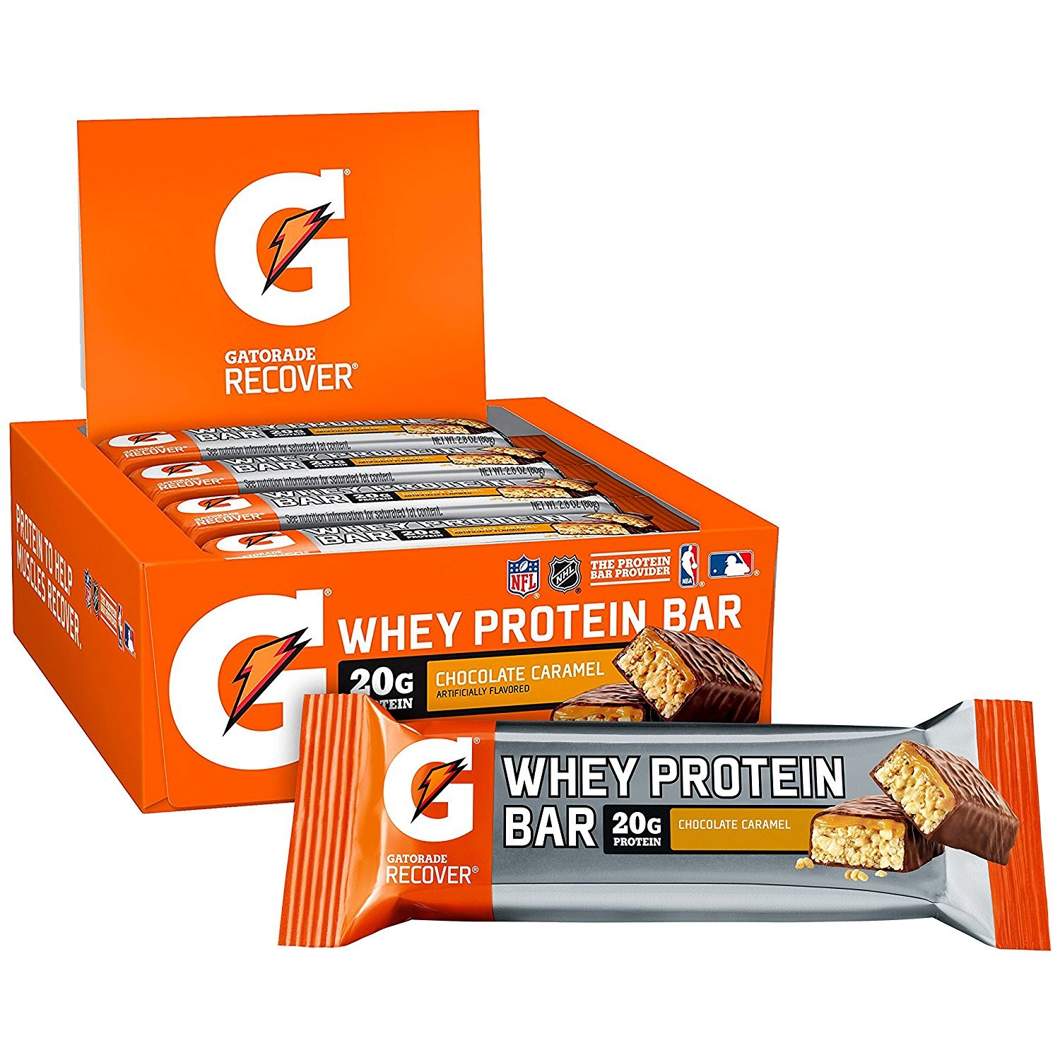 Gatorade Whey Protein Recover Bars, Chocolate Caramel, 2.8 ounce bars (12 Count) by Gatorade