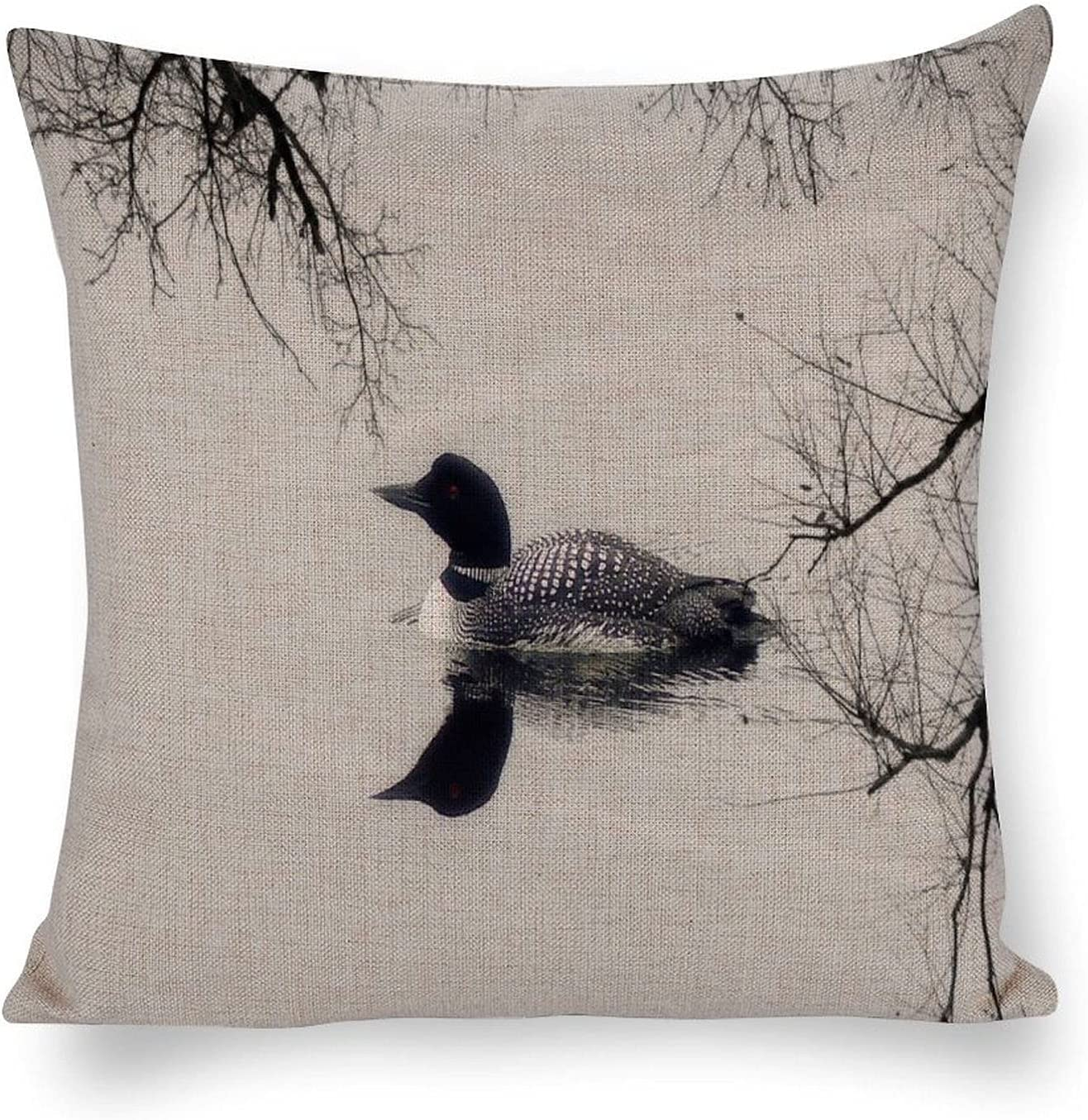 Tamengi Pack of 2, Cotton Linen Decorative Throw Pillowcase Cushion Cover, Common Loon Swims in A Northern Lake in Winter Pillowcase Cushion Covers for Home Sofa Couch Car Holiday Decor 20