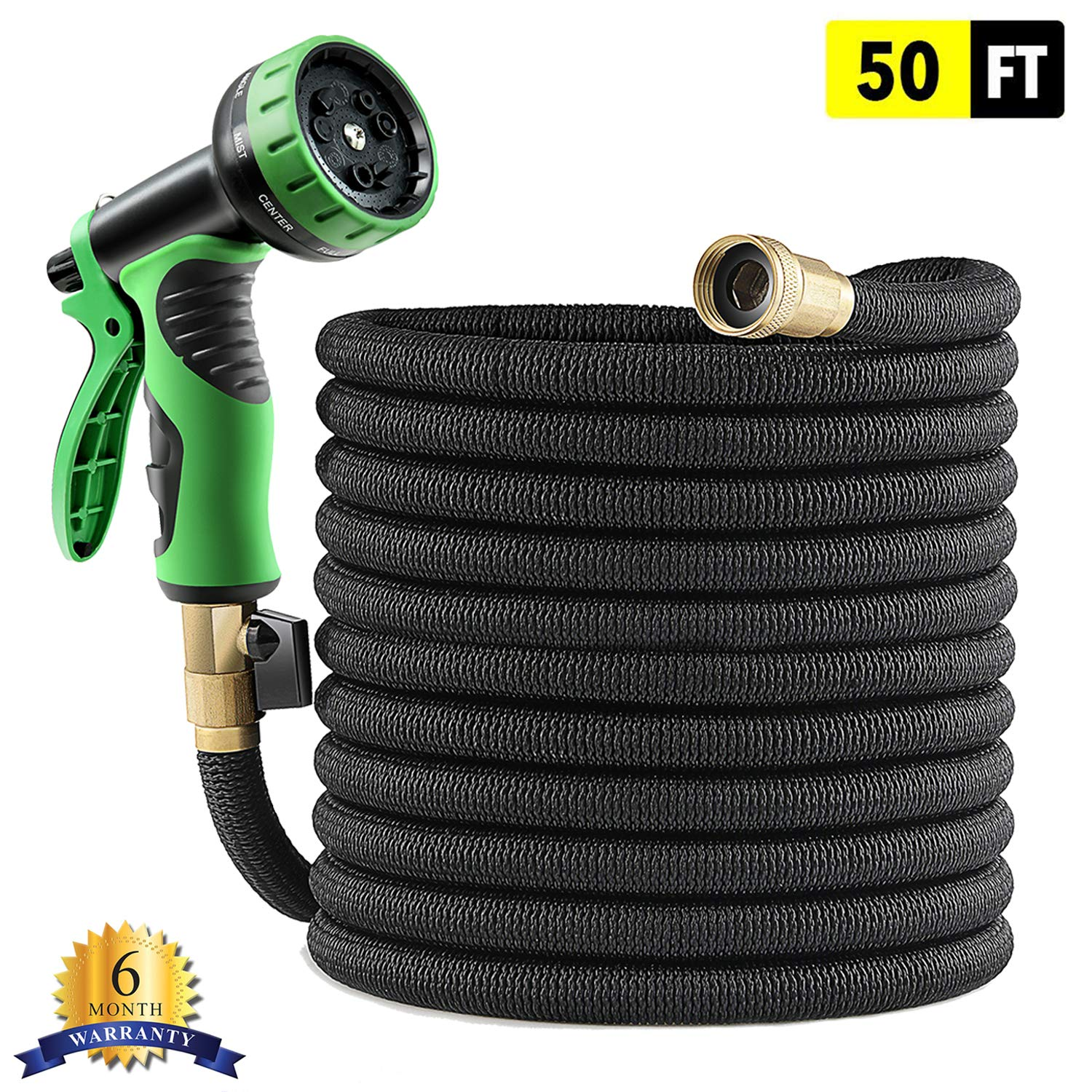 Best Quality Expandable Garden Hose 50 FT with Super Strong Latex Core, Extra Long Life Textile, No Rust Brass Connector, No Kink, No Twist, No Tangle and Newest 9 Function Spray Nozzle