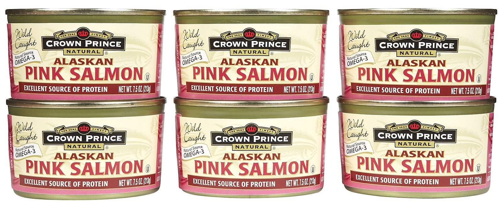 Crown Prince Natural Alaskan Pink Salmon, No Salt Added, Cans, 7.5 oz, 6 pk