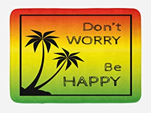 Ambesonne Rasta Bath Mat, Dont Worry Be Happy Music Words of Iconic Singer Palms Ombre Colors, Plush Bathroom Decor Mat with Non Slip Backing, 29.5