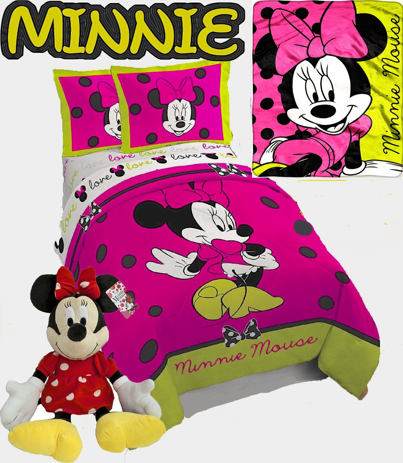 Disney 8pc MINNIE MOUSE Hot Pink Twin/Full Size Comforter (72'' x 86'') with 2-Pillow Shams, 1-TWIN Size Sheet Set, 1-60'' x 42'' THROW Blanket and One MINNIE PAL!