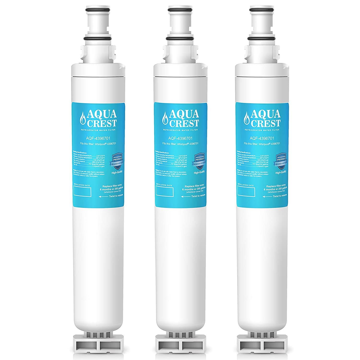 AQUACREST Replacement 4396701 Refrigerator Water Filter, Compatible with Whirlpool 4396701 4396702 EDR6D1, EveryDrop Filter 6, Kenmore 9915 46-9915 (pack of 3)