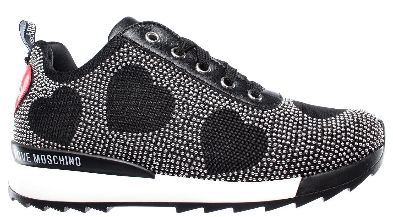 Love Moschino Zapatos Mujer Sneakers D Running 25 Jersey Nero Cuero Espárragos 36 EU
