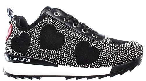 LOVE MOSCHINO Zapatos Mujer Sneakers D Running 25 Jersey Nero Cuero  Espárragos  Amazon.es  Zapatos y complementos e575b8494b35