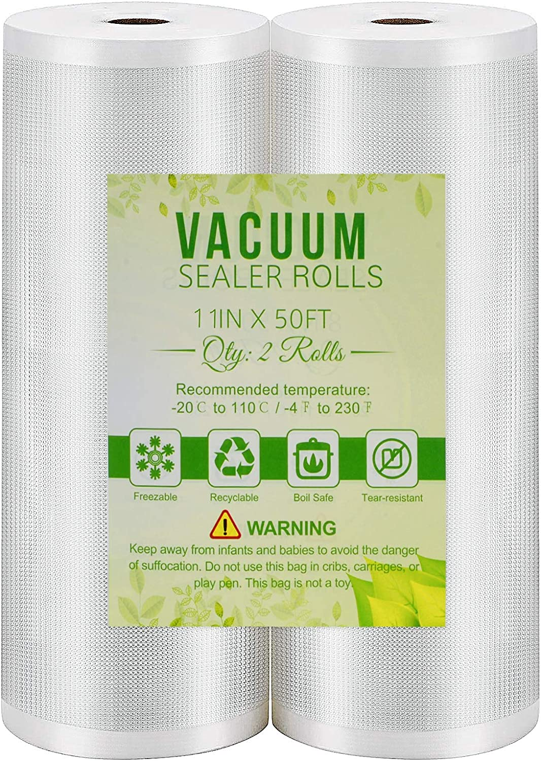 Vacuum Sealer Bags 2 Pack 11''x50' Rolls Commercial Grade Food Saver Bags for Seal a Meal, BPA Free, Great for Vac Storage
