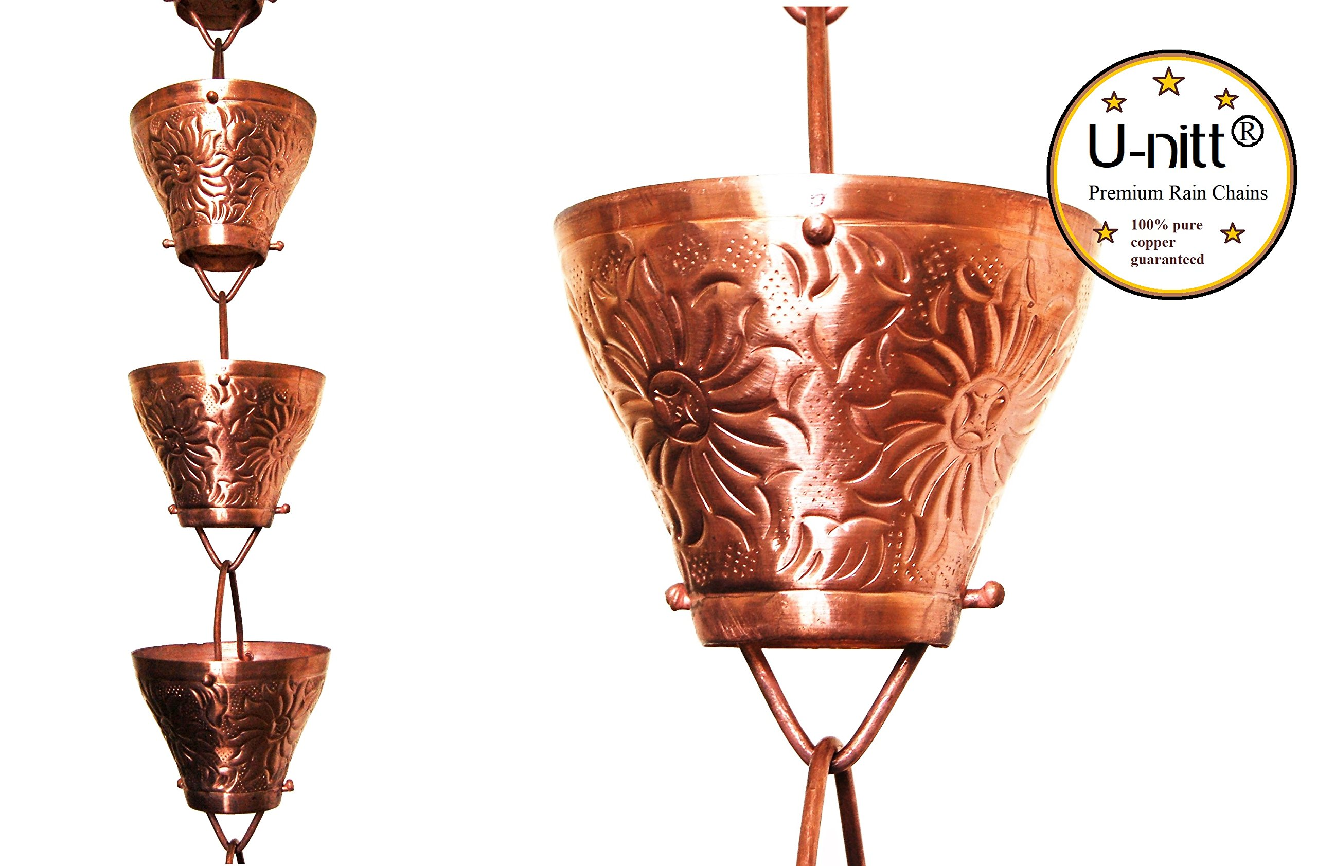 U-nitt 8-1/2 feet Pure Copper Rain Chain: Embossed Sunflower 8.5 ft Length #5501 by U-nitt