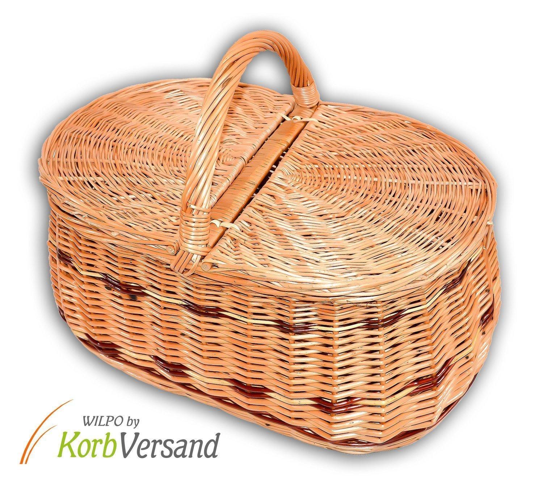 Wilpo Panier de picnic Panier dachats Saule 45x30x33 Panier /à champignons Paniers pour automobile Panier de transport Panier en saule