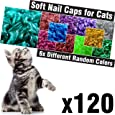 120 pcs Glitter Soft Cat Claw Caps for Cats Nail Claws 6X Different Random Colors + 6X Adhesive Glue + 6X Applicator, Pet Cap Tips Cover Paws Grooming Soft Covers (S)