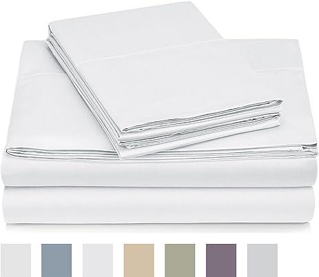 pinzon egyptian cotton sateen hemstitch sheet set queen white