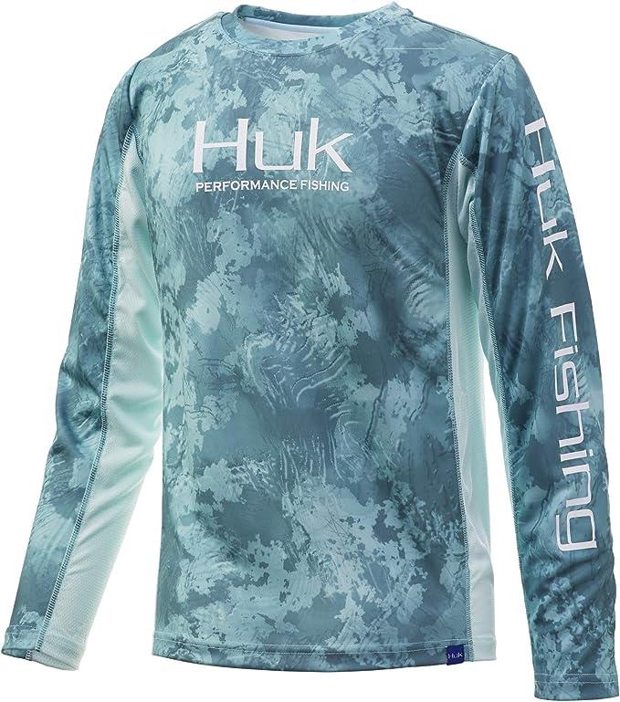 Huk Youth Icon X White Medium Long Sleeve Hoodie Fishing Shirt