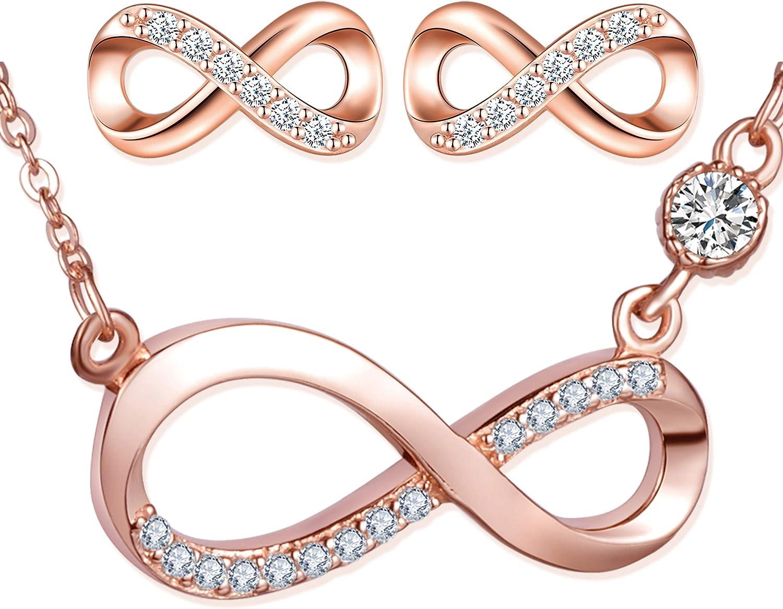 Conjuntos de Joyas de Plata 925 Joyas para Mujer ni/ña aretes Lindos cumplea/ños Collar con s/ímbolo de Infinito de Oro Rosa circ/ón con Incrustaciones