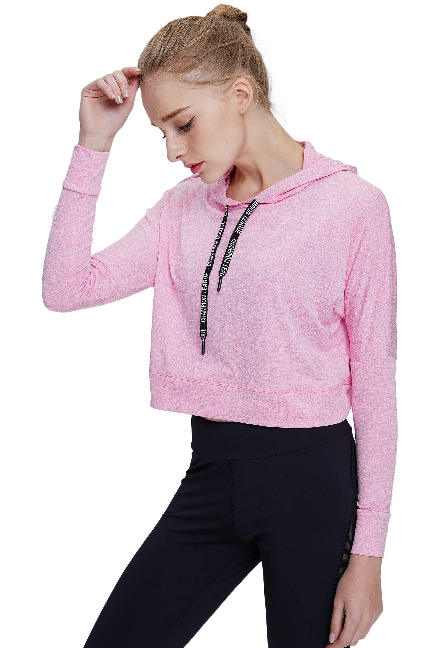 Helisopus Women's Sports Workout Long Sleeve Crop Top Shirt Hoodie Loose Pullover Sweatshirt